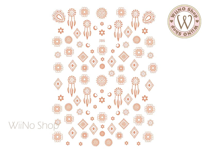 Rose Gold Dreamcatcher Adhesive Nail Art Sticker - 1 pc (JO-386)