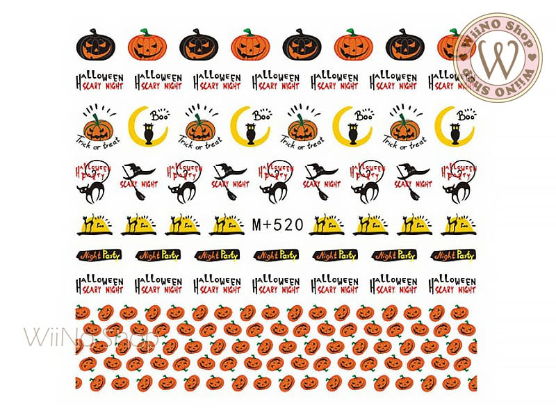 M+520 Halloween Water Slide Nail Art Decals - 1pc