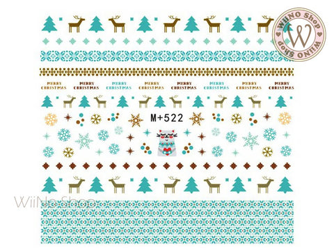 M+522 Turquoise Sweater Pattern Water Slide Nail Art Decals - 1pc