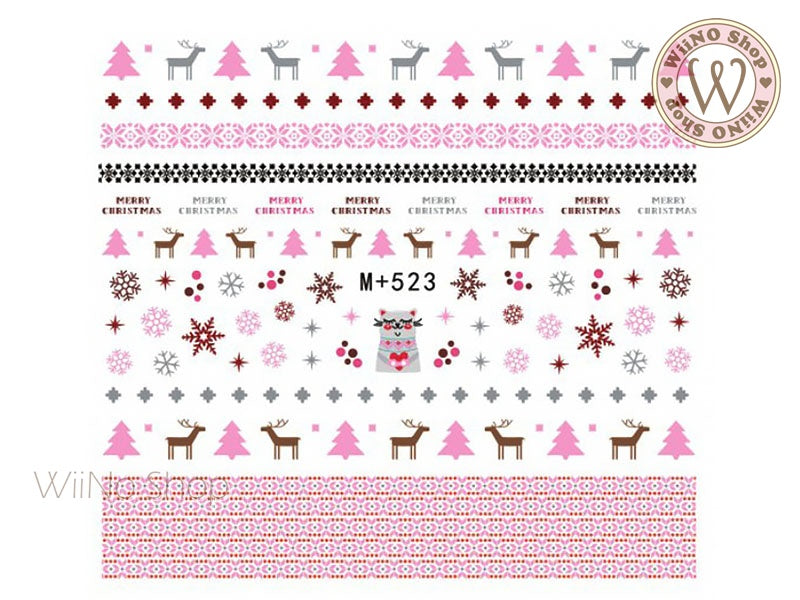 M+523 Pink Sweater Pattern Water Slide Nail Art Decals - 1pc