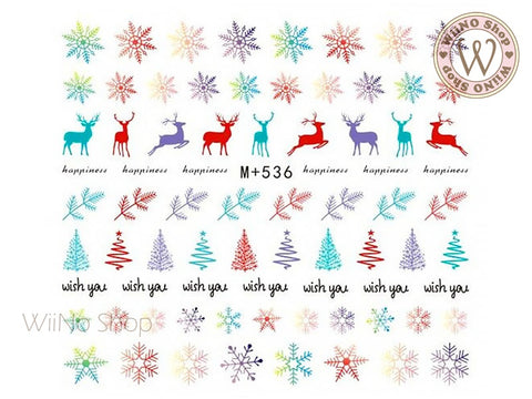 M+536 Colorful Deer Snowflake Water Slide Nail Art Decals - 1pc