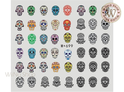 M+699 Sugar Skull Water Slide Nail Art Decals - 1pc
