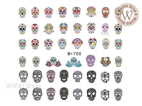 M+700 Sugar Skull Water Slide Nail Art Decals - 1pc