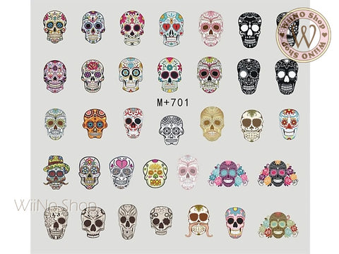M+701 Sugar Skull Water Slide Nail Art Decals - 1pc