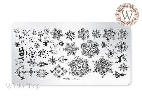 Snowflake Nail Art Stamping Plate Template (MZ-01)
