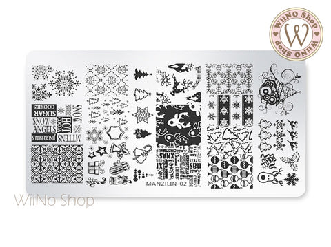 Christmas Nail Art Stamping Plate Template (MZ-02)
