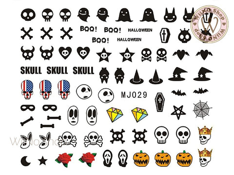 MJ029 Halloween Water Slide Nail Art Decals - 1pc