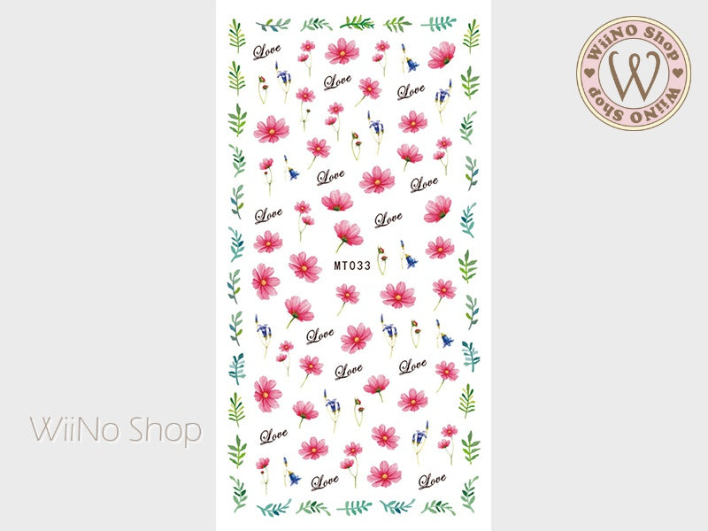 Cosmos Flower Adhesive Nail Art Sticker - 1 pc (MT033)