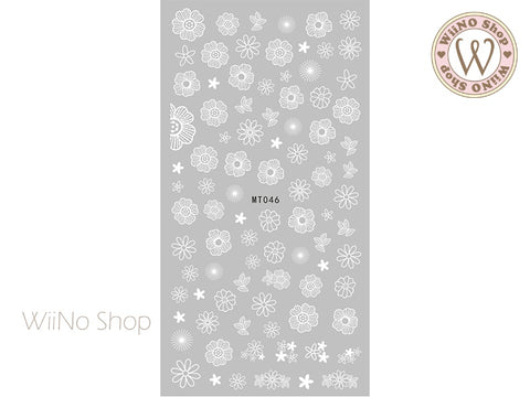 White Drawing Flower Adhesive Nail Art Sticker - 1 pc (MT046)