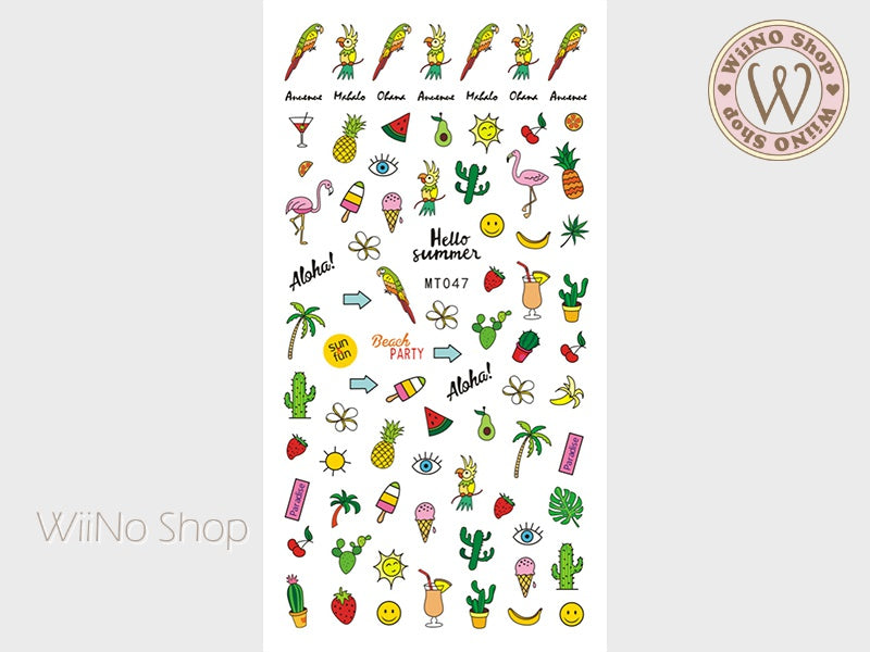 Hello Summer Adhesive Nail Art Sticker - 1 pc (MT047)
