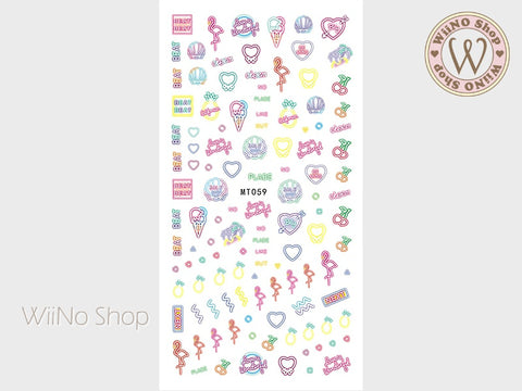Summer Neon Light Adhesive Nail Art Sticker - 1 pc (MT059)