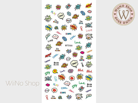 Comic Pop Adhesive Nail Art Sticker - 1 pc (MT066)