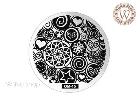 OM-15 Nail Art Stamping Plate Template