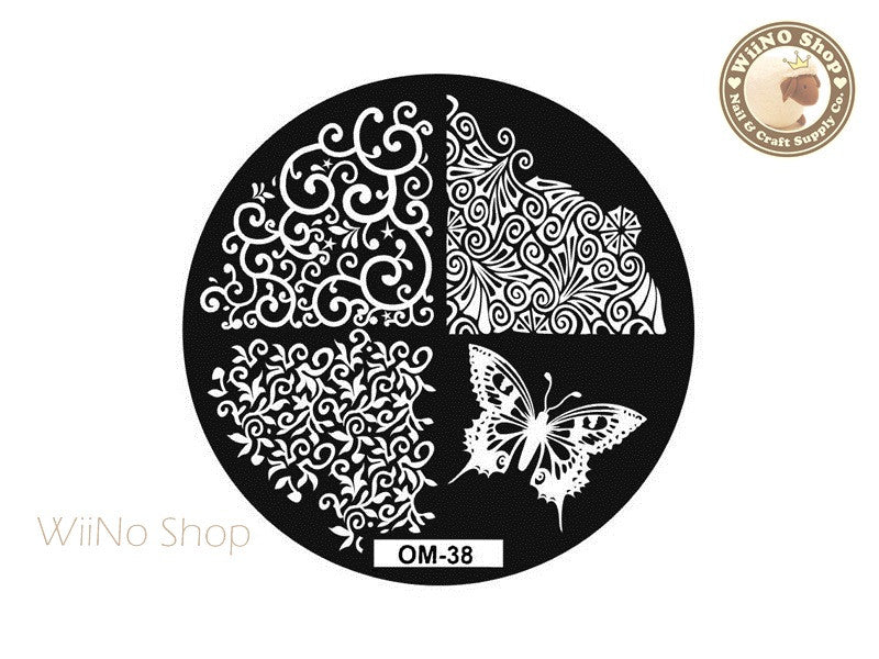 OM-38 Nail Art Stamping Plate Template
