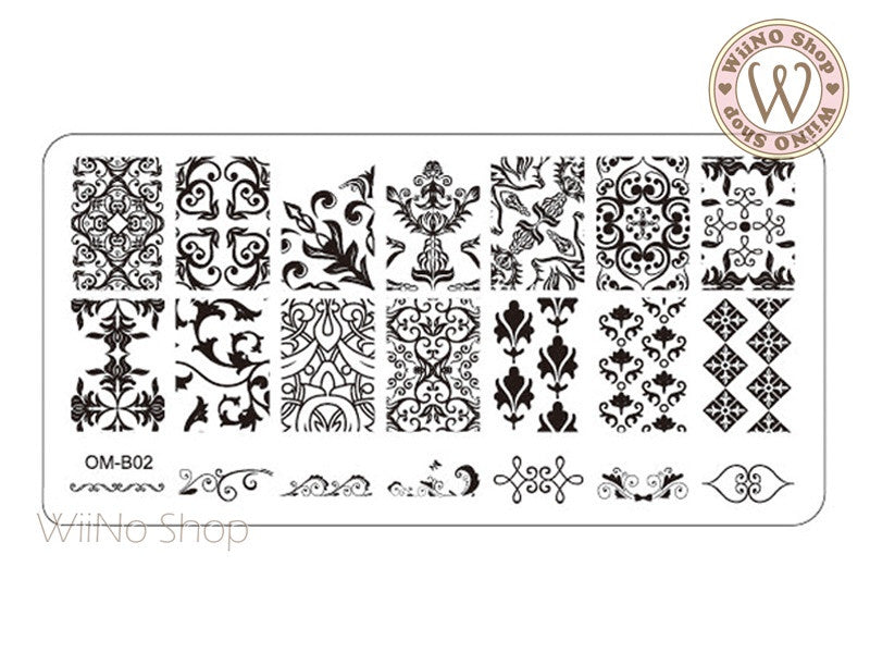 OM-B02 Nail Art Stamping Plate Template – WiiNo Shop