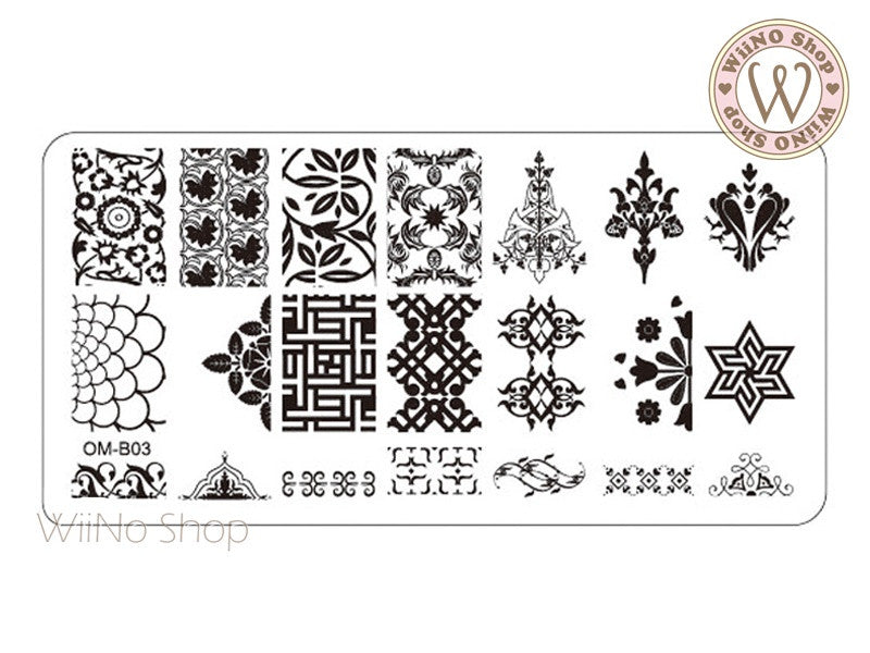 OM-B03 Nail Art Stamping Plate Template – WiiNo Shop