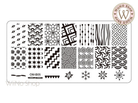 OM-B05 Nail Art Stamping Plate Template