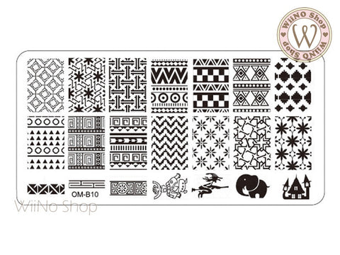 OM-B10 Nail Art Stamping Plate Template