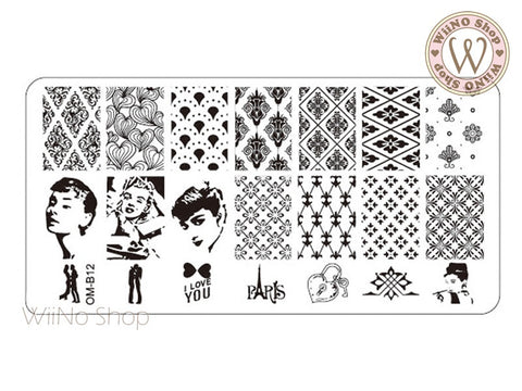 OM-B12 Nail Art Stamping Plate Template