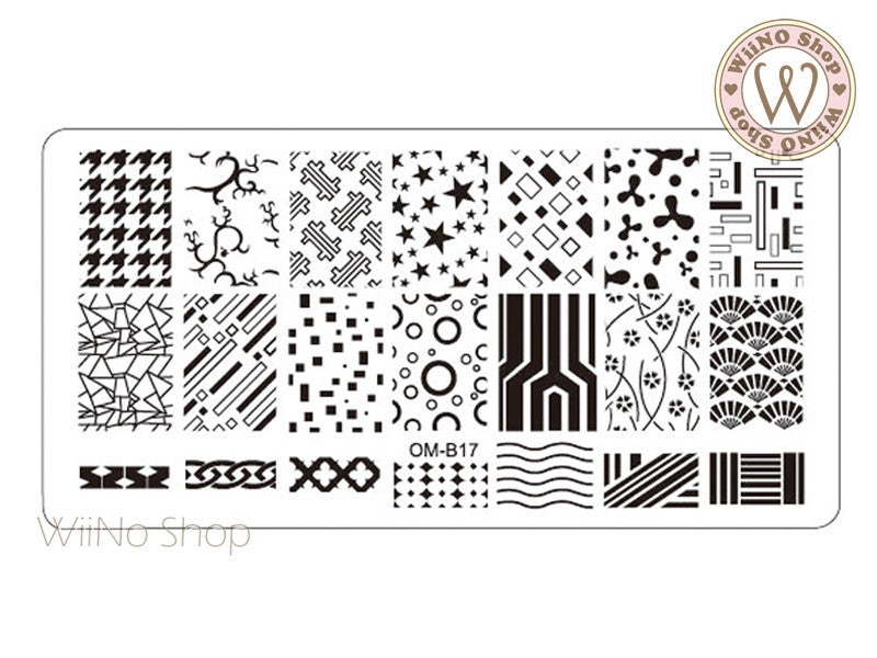 OM-B17 Nail Art Stamping Plate Template