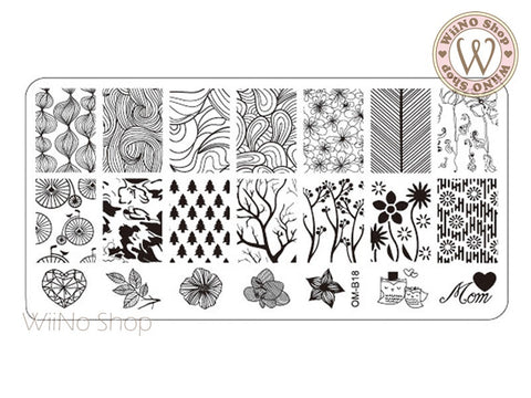 OM-B18 Nail Art Stamping Plate Template