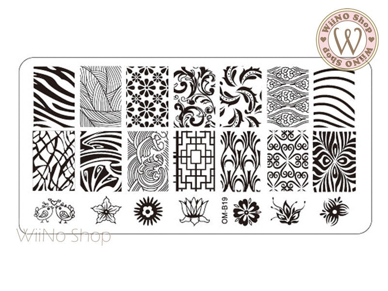 OM-B19 Nail Art Stamping Plate Template – WiiNo Shop