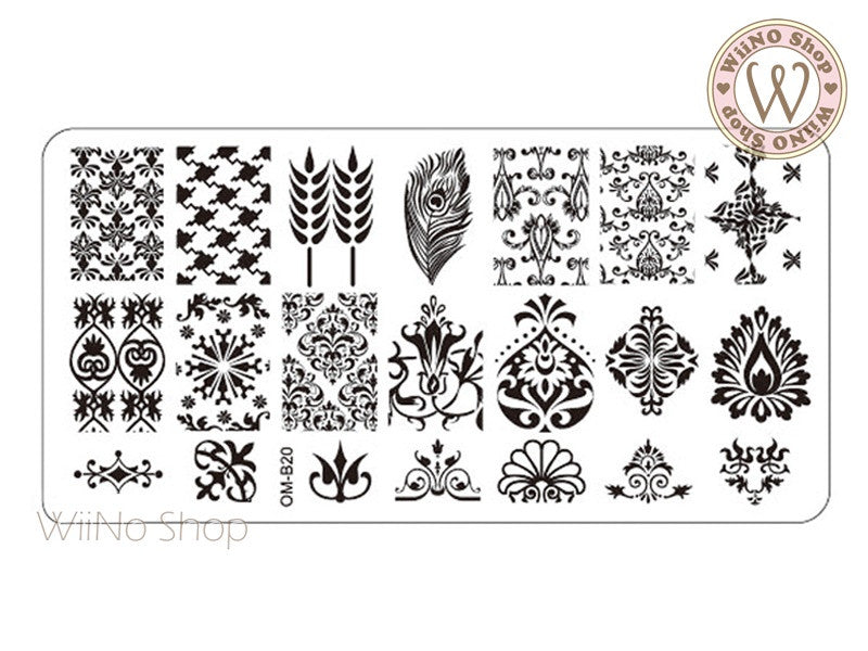 OM-B20 Nail Art Stamping Plate Template – WiiNo Shop