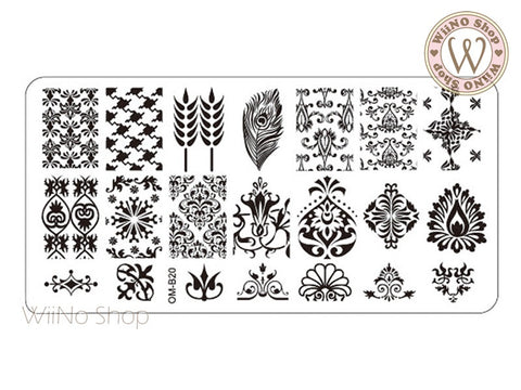 OM-B20 Nail Art Stamping Plate Template