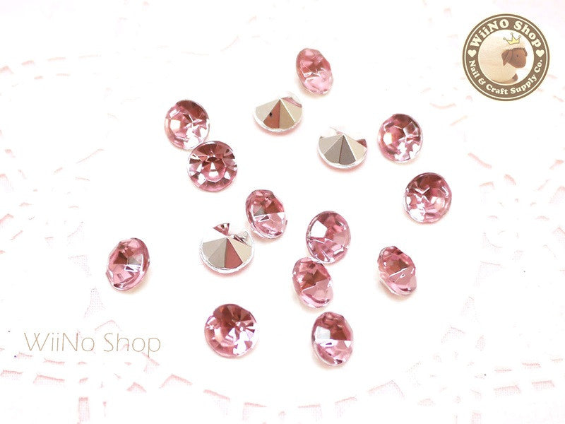 8mm Pink Light Rose Round Diamond Style 3D Point Back Acrylic Rhinestone - 15 pcs