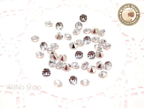 5mm Clear Round Diamond Style 3D Point Back Acrylic Rhinestone - 50 pcs