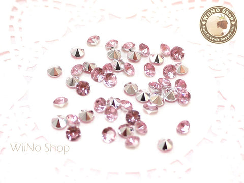 5mm Pink Light Rose Round Diamond Style 3D Point Back Acrylic Rhinestone - 50 pcs