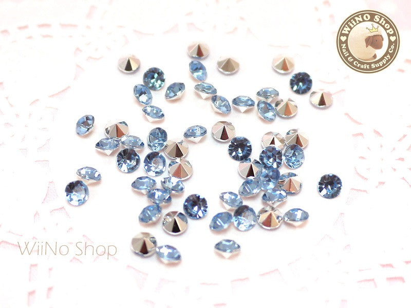 5mm Light Sapphire Blue Round Diamond Style 3D Point Back Acrylic Rhinestone - 50 pcs