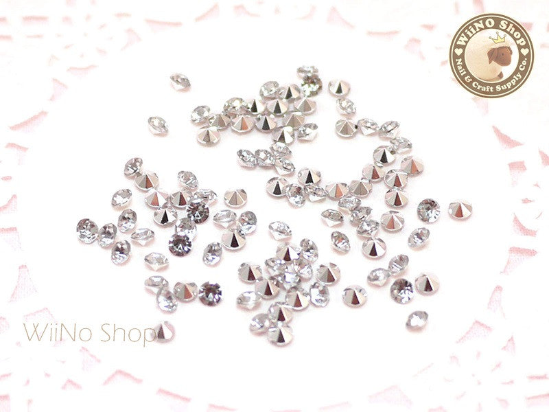 3mm Clear Round Diamond Style 3D Point Back Acrylic Rhinestone - 50 pcs