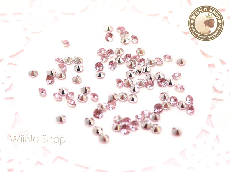 3mm Pink Light Rose Round Diamond Style 3D Point Back Acrylic Rhinestone - 50 pcs