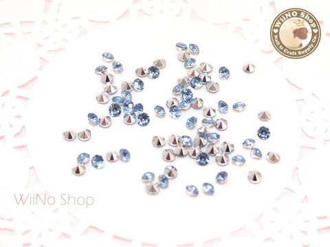 3mm Light Sapphire Blue Round Diamond Style 3D Point Back Acrylic Rhinestone - 50 pcs