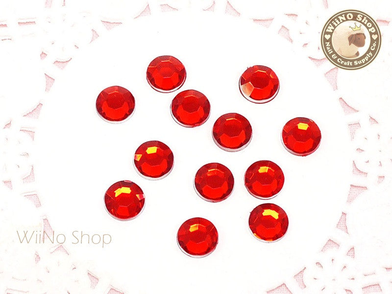 8mm Red Light Siam Round Flatback Acrylic Rhinestone - 50 pcs