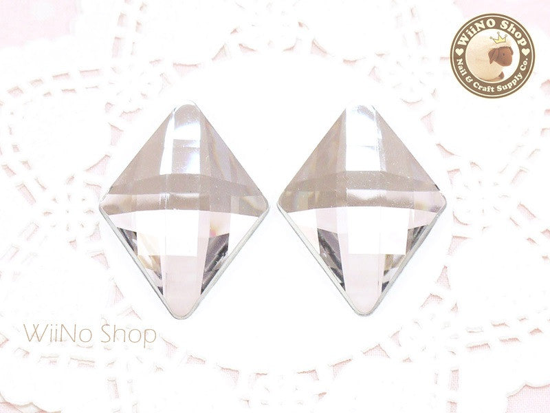 42 x 30mm Large Clear Rhombus Diamond Shape Flat Back Acrylic Rhinestone - 2 pcs