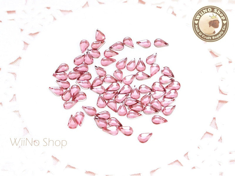 5 x 3mm Pink Light Rose Drop Flat Back Acrylic Rhinestone Nail Art - 100 pcs