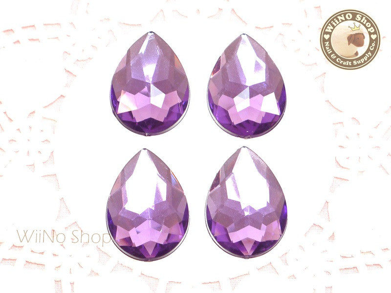 25 x 18mm Purple Amethyst Pear Drop Flat Back Acrylic Rhinestone - 4 pcs