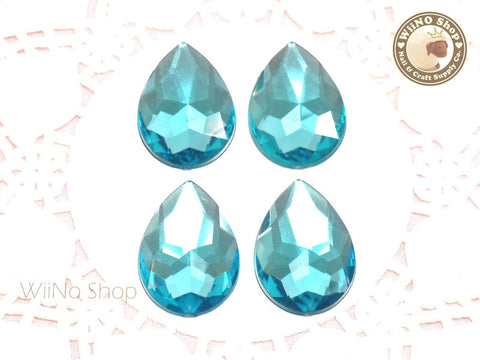 25 x 18mm Blue Aquamarine Pear Drop Flat Back Acrylic Rhinestone - 4 pcs