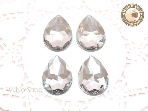 25 x 18mm Clear Pear Drop Flat Back Acrylic Rhinestone - 4 pcs