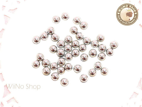 3.5mm Half Round Silver Chrome Flat Back Acrylic Cabochon Nail Art - 20 pcs