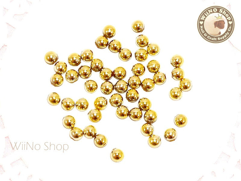 3.5mm Half Round Gold Chrome Flat Back Acrylic Cabochon Nail Art - 20 pcs