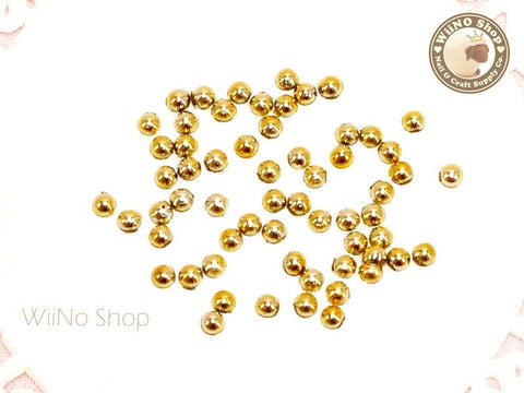 2.5mm Half Round Gold Chrome Flat Back Acrylic Cabochon Nail Art - 25 pcs