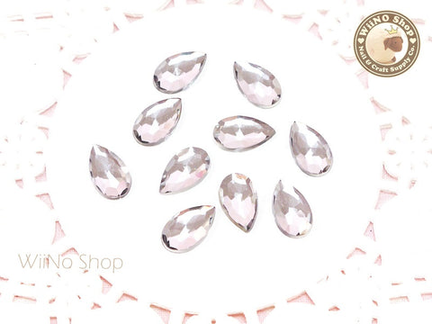 12 x 7mm Clear Drop Flat Back Acrylic Rhinestone - 15 pcs