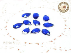 12 x 7mm Royal Blue Cobalt Drop Flat Back Acrylic Rhinestone - 15 pcs