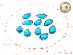 12 x 7mm Blue Aquamarine Drop Flat Back Acrylic Rhinestone - 15 pcs