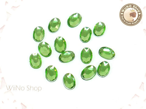 5 x 7mm Light Green Perdot Oval Flatback Acrylic Rhinestone - 15 pcs