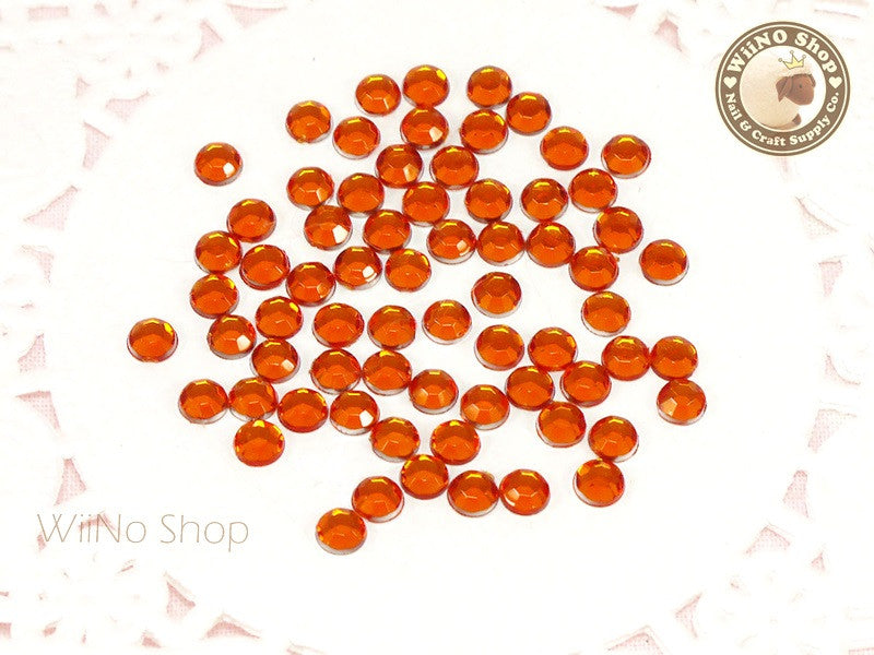 4mm Round Orange Fireopal Flatback Acrylic Rhinestone - 200 pcs
