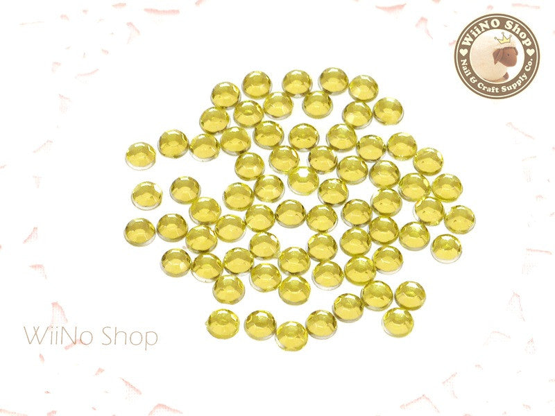 4mm Round Light Yellow Citrine Flatback Acrylic Rhinestone - 200 pcs